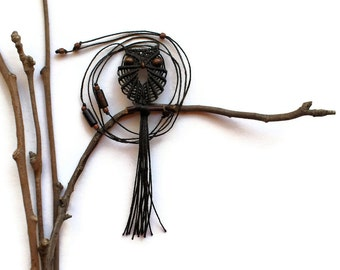 Seal Brown Macrame Owl Necklace