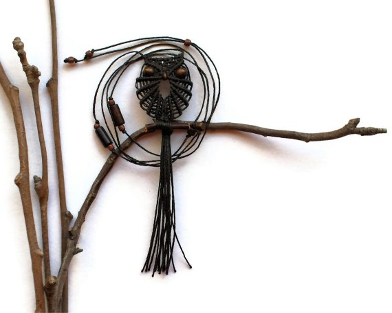 Seal Brown Owl, Macrame Owl Necklace, Pretty Long Necklace, Macrame Owl, Owl Pendant, Micro Macrame Owl, Brown Owl, Textile Jewelry