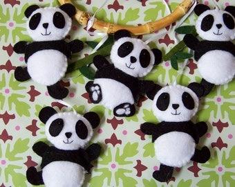 Baby Mobile - Baby Crib Mobile - Nursery Family Prancing Pandas Mobile - Panda Mobile - Bamboo Trees Mobile (You can pick your colors)