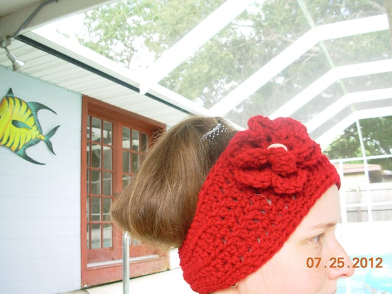 Headband /Earwarmer/Wrap With Flower