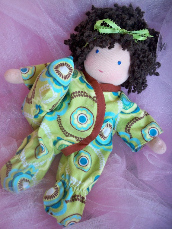 """Waldrof doll footie sleeper with pillow for a 12"""" doll"""
