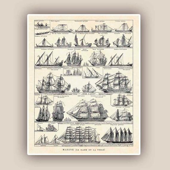 Vintage Nautical Decor Sale: Nautical Print Vintage Sail And Row Boat Images Seaside