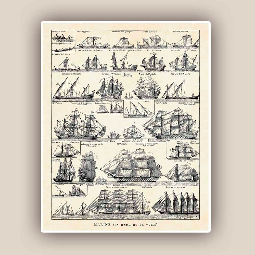 Vintage Nautical Bedding: Nautical Print Vintage Sail And Row Boat Images Seaside