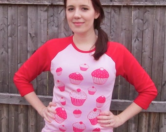Cupcake Tee Shirt in Pink and Red