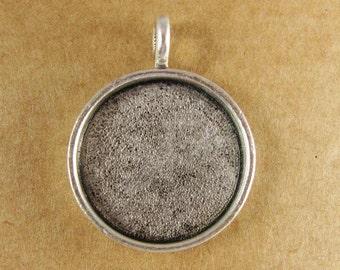 Medium Circle Bezel Frame Tray - Antiqued Sterling Silver Finish