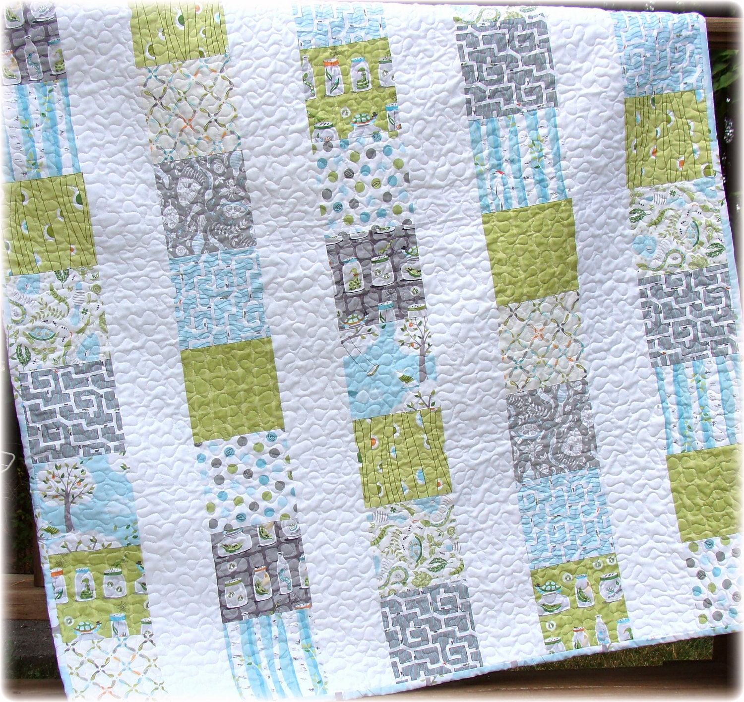 Backyard baby boy quilt cute custom made to order for Boy quilt fabric