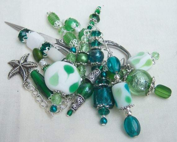Shades of Green Fantasy Fob with Silver Scissors
