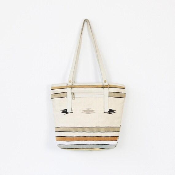Ethnic Cream Woven Textile Kilim Bag Vintage