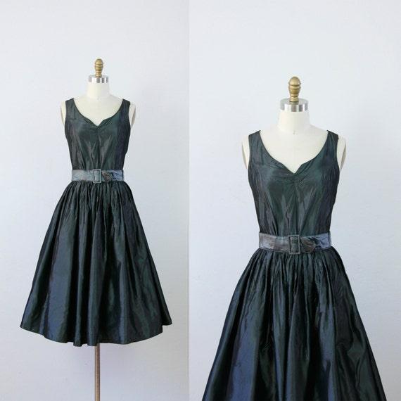 Charcoal Grey Taffeta Full Skirt Vintage Dress