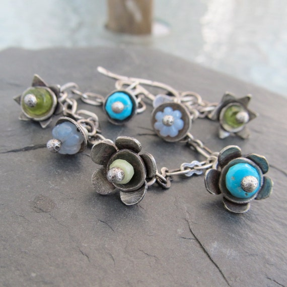 Sterling Silver Charm Bracelet Funky Wire Wrapped blues and green