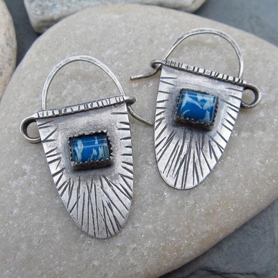 Sterling Silver Hanging Earrings funky Blue Rustic Stamped Tribal Ethnic earrings