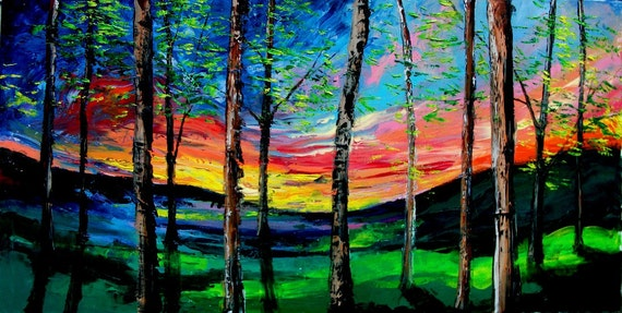Summer Sunset - huge 24x48 impasto abstract landscape original oil painting by Aja