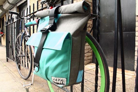Large Pannier/Backpack Hybrid Bag - Charcoal Tweed & Aqua Canvas