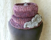 Brave Feather Cowl - Knit Chunky Oversized - Shades of Plum and Dove Grey