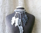 Feather Flurry Lariat Trio in charcoal, cream and dove grey