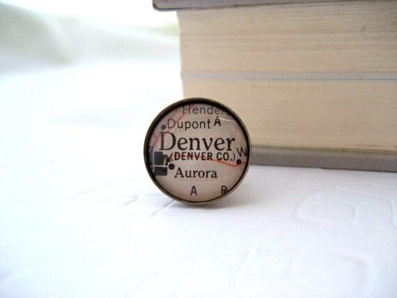 Map Tie Tack / Lapel Pin Denver Colorado