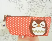 Stewart the Owl Strawberry Pink Polka Dots Cotton Canvas Case with Vinyl Applique