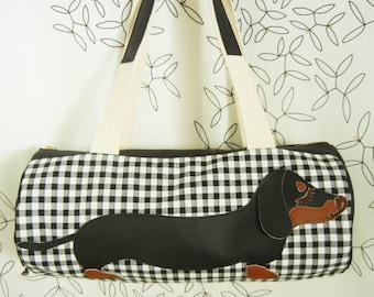 Teriyaki  the Dachshund Black White Check Gingham Cotton Canvas Duffel Tote Bag Purse with Vinyl Applique
