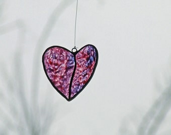 Glass Heart Purple, Hand Painted, Gift for Her, Radiant Orchid, One and Only