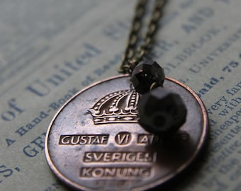 Crowned Necklace with Swarovski Crystal and Vintage Swedish Coin