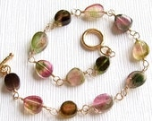Petite Watermelon Tourmaline Slice Bracelet in Gold, Tourmaline Bracelet, Watermelon Tourmaline Jewelry