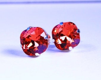 Watermelon Pink Crystal Stud Earrings Classic Sparkling Coral Padparadscha Solitaire Swarovski 10mm - Sterling Silver Post & Copper