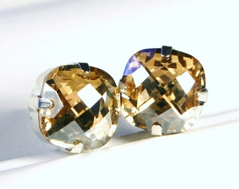 Gold Crystal Stud Earrings Classic Sparkling Golden Metallic Topaz Cushion Pillow Cut Solitaire Swarovski 12mm Sterling Silver Post & Copper