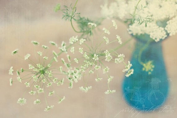 Abstract Fine Art Photograph, White Queen's Anne Lace in a Blue Glass Vase, Dining Room Art, Gardener, Macro Art, Vintage Feel, 4x6 Print