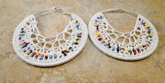 Boho style, White Crochet Hoop Earrings with Multicolor Beads, Lacy Lightweight Style Earrings