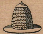 Rubber stamp  Bumble bee  hive skep   wood Mounted  scrapbooking supplies number 6733