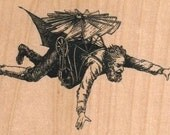 Wood mounted  Steampunk Man  Flying Machine  8675