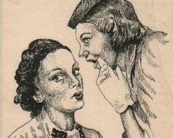 Woman gossip friends    stamp    wood Mounted   rubber stamp    stamp number 18768