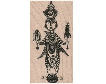Wood mounted rubber  stamp  Totem art doll    steampunk  zentangle  art stamps original design by Mary Vogel Lozinak no 18760