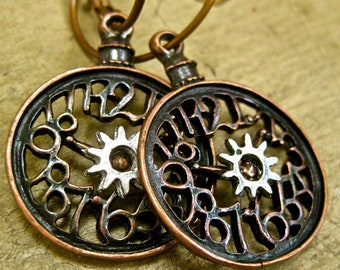 Steampunk Earrings  pocket watch gear pierced earrings antiqued bronze  tateam