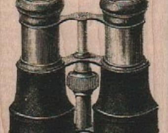 large stamp Binoculars  wood mounted rubber stamp   number 18800