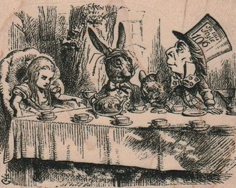 Mad Hatter tea party  rubber stamp   17190  alice in wonderland  wood mounted, unmounted, cling stamp