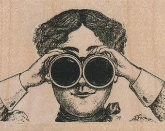 Steampunk Binoculars Lady  rubber stamps   unmounted 17170
