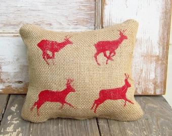 Running Deer Zoopraxography Study -  Burlap Feed Sack Doorstop - Deer Door Stop - Christmas Deer