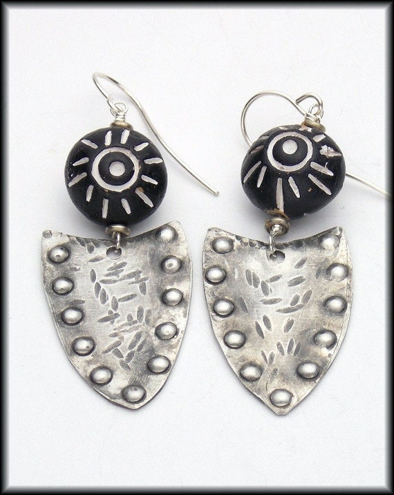 TRIBAL SHIELDS - Handforged Dimpled Antiqued Pewter & Handmade African Clay Earrings