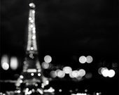Eiffel Tower Print, Black and White Photography, Romantic Paris Decor, City Lights, Bedroom Decor, Black and White - Spangled Night