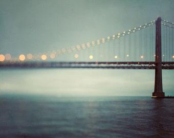 "San Francisco Art, Abstract Bay Bridge Photograph, Modern Large Wall Art Print, Travel Photography, Teal Wall Decor ""The Crossing"""