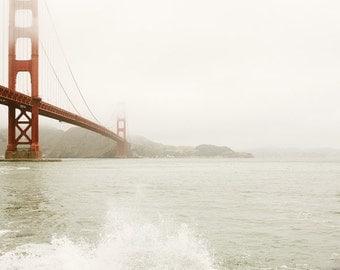 "Golden Gate Bridge in Fog, San Francisco Art, Travel Photography Print, Modern Minimalist, California Wall Art  ""Splash"""