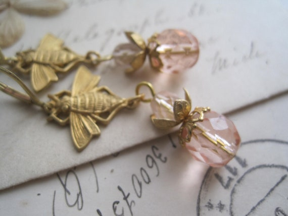 Assemblage Earrings. assemblage earrings, art nouveau, bees, pink, gold, vintage, earrings. Glory Bee.