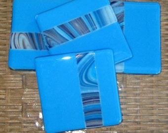 Blue Fused Glass Coasters, Glass Coasters, Fused Glass Coaster Set of Four --Riveria Blue