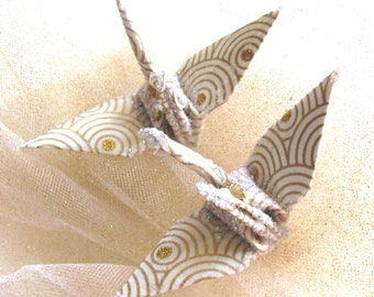 Moon Gold Peace Crane Bird Wedding Cake Topper Party Favor Origami Christmas Ornament Japan Paper Anniversary Place Card Holder Decoration