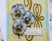 Thank You Card, Elegant Pansy Thank You Card, Blank Card, Floral Card, 3D Greeting Card
