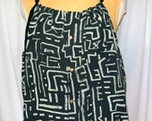 Button Down Tank - Charcoal grey and taupe silk, primitive tribal print with black tie