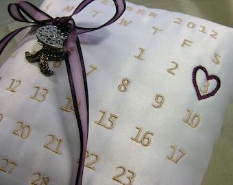 Wedding Ring Pillow with Custom Calender Design