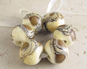 Handmade Lampwork Glass Beads Set of 6 Organic Webbed Silvered Ivory 14x11mm Coffee and Cream