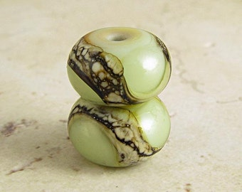 Green Lampwork Glass Bead Pair, Handmade Lampwork, Nutty Green, Lampwork Glass,  Lampwork Beads, 2 Glossy11x7mm Pistachio